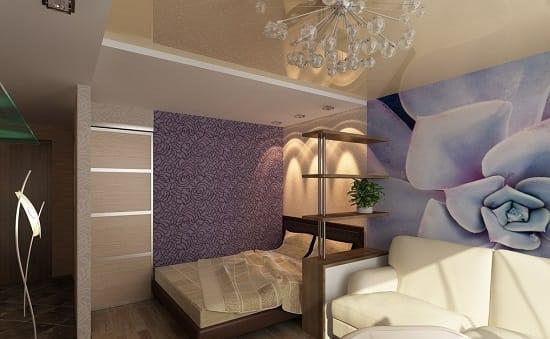 Обстановка спальни гостиной с функциональной перегородкой со стойкой