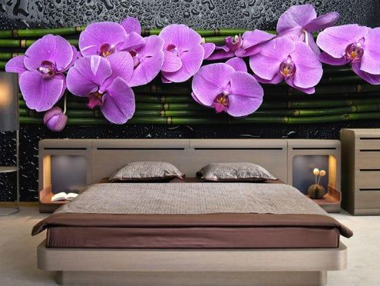 Яркие и красивые ЗД фотообои в дизайне спальни