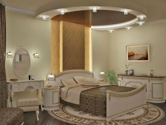 Комбинирование точечного и диодного потолочного освещения в спальне