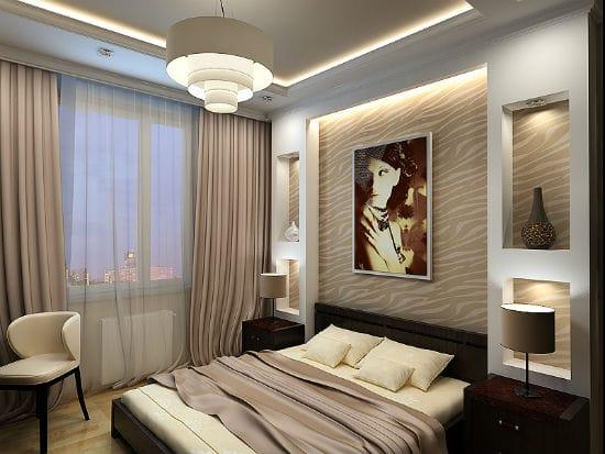 Идея использования ниш из гипсокартона  с узором в декоре спальни