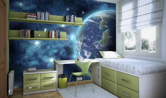 Красивые фотообои на тему космоса для украшения интерьера подростковой спальни