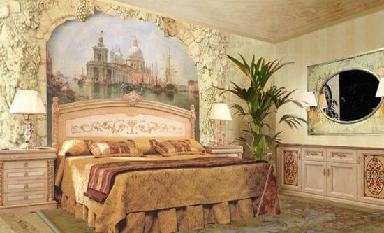 Красивая фреска в гипсовом обрамлении для спальни