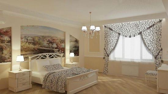 Панорамные фрески в нишах стены для украшения интерьера спальни