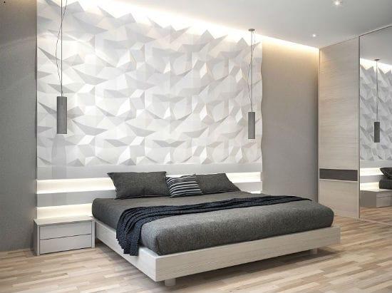 Идея для оформления стены спальни хай тек при помощи объемной панели