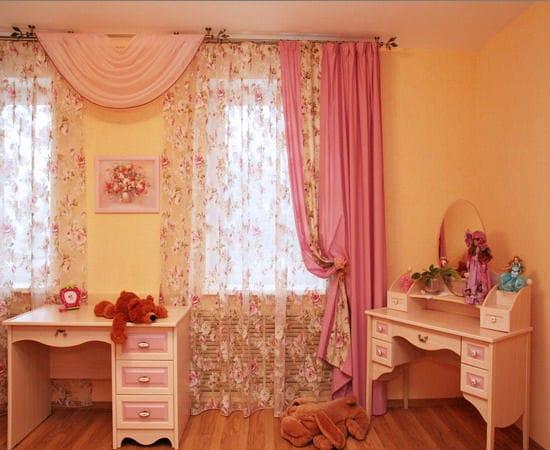 Красивые классические шторы для спальни девочки подростка