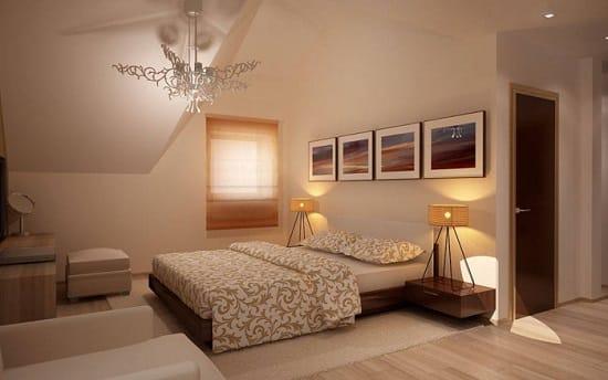 Уютная обстановка большой спальни площадью 20 кв м
