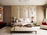 Идея оформления стены спальни 3d стеновыми панелями
