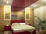 Зонирование помещения спальни при помощи цветного потолка