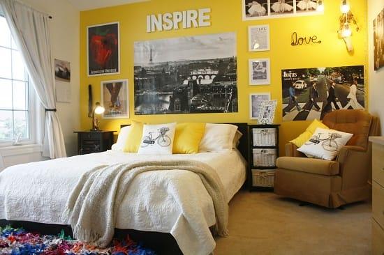 Дизайн современной урбанистической спальни в желтых тонах