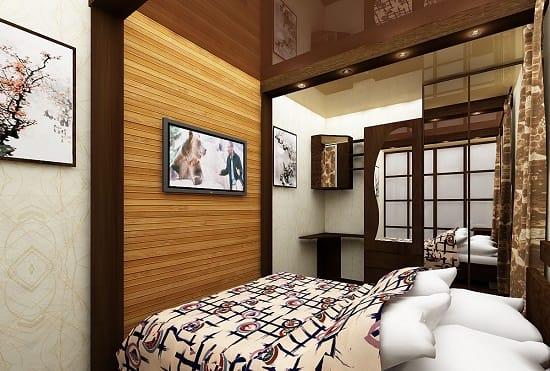 Дизайн с минимумом деталей декора в спальне хрущевки