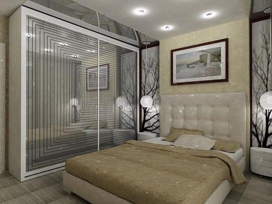 Установка зеркального шкафа в небольшой спальне бежевого цвета