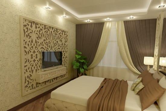 Спокойный интерьер спальни в оттенках кофе с молоком