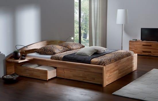 Меблировка малогабаритной спальни кроватью с ящиками для белья