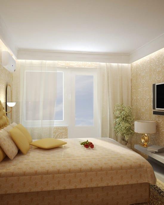Кровать простой конструкции в меблировке спальни хрущевки
