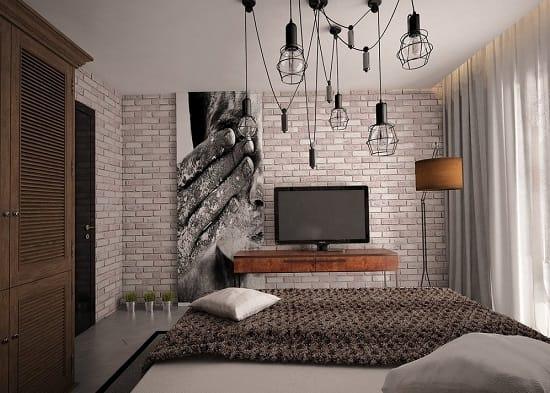 Интерьер малогабаритной спальни в стиле лофт