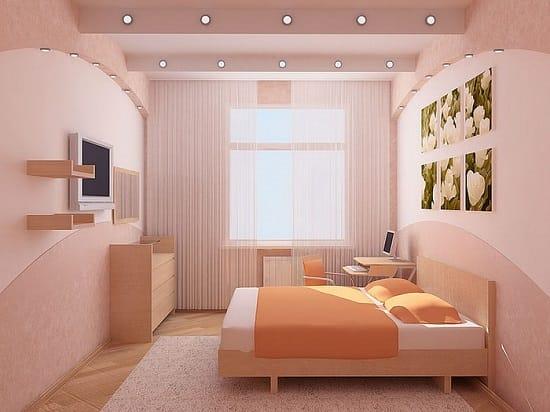 Выбор однотонной отделки и ярких аксессуаров a оформлении малогабаритной спальни